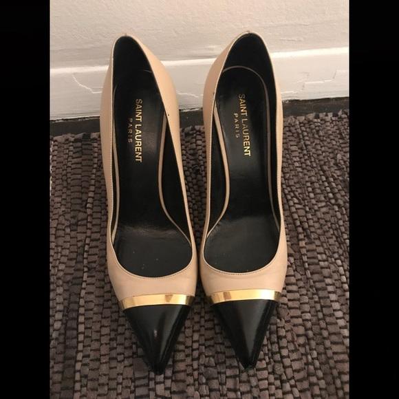 973fc96b089 YSL Saint Laurent black nude pumps heels size 38.5